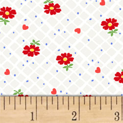 Sugar Sack Floral Check Pearl Grey Fabric
