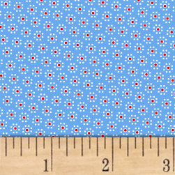 Sugar Sack Daisy Dot Blue Fabric