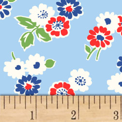 Sugar Sack Tossed Floral Blue Fabric
