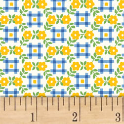 Sugar Sack Gingham Floral Yellow Fabric