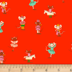 Sugarplum Nutcracker Mice Flannel Red Fabric
