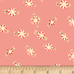 Sugarplum Peppermints Flannel Pink Fabric