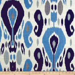 Duralee Fazil Basketweave Blue Linen Fabric