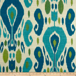 Duralee Fazil Basketweave Aqua/Green Linen Fabric