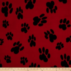 Polar Fleece Big Paw Red Fabric