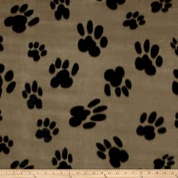Polar Fleece Big Paw Tan Fabric