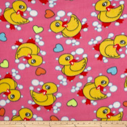 Polar Fleece Duck Bubbles & Heart Fuchsia