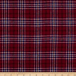 Yarn Dyed Flannel Merick Wine Fabric