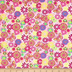 Printed Flannel Botanical Garden Pink Fabric
