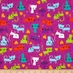 Printed Flannel Cute Kitty Fuchsia Fabric