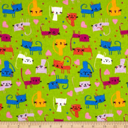 Printed Flannel Cute Kitty Lime Fabric