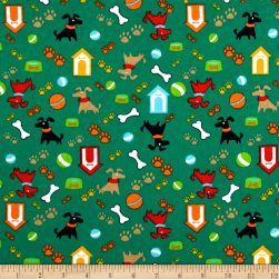 Printed Flannel Gimmie Shelter Green Fabric