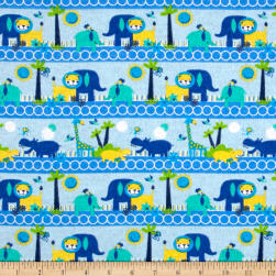 Printed Flannel Happy Zoo Sky Fabric