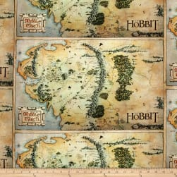 Lord of the Rings Hobbit Map Tan Fabric