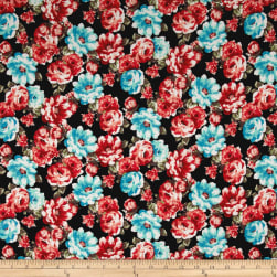 Double Brushed Jersey Knit Retro Allover Floral Aqua/Dark