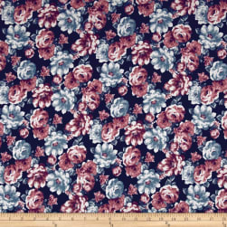Double Brushed Jersey Knit Retro Allover Floral Dusty