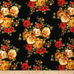 Double Brushed Jersey Knit Rose Bouquet Red/Mustard on Black Fabric