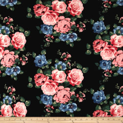 Double Brushed Jersey Knit Rose Bouquet Blush/Blue on Black Fabric