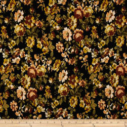 Double Brushed Jersey Knit Floral Bloom Mustard on