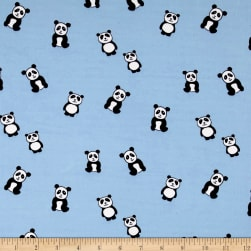 Double Brushed Jersey Knit Panda Light Blue Fabric