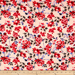 Bubble Crepe English Floral Red/Cream Fabric