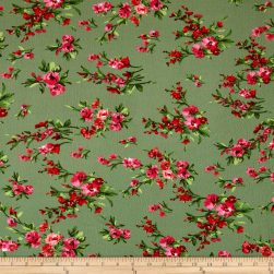 Bubble Crepe English Floral Pink/Red on Olive Fabric