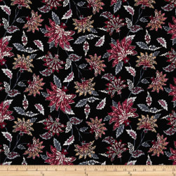 Bubble Crepe Abstract Floral Multi on Black Fabric