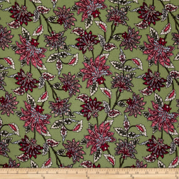 Bubble Crepe Abstract Floral Multi on Olive Fabric