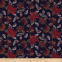 Bubble Crepe Abstract Floral Red/Orange on Navy Fabric