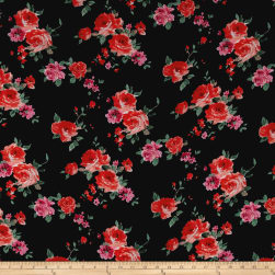 Bubble Crepe Roses Orange/Pink on Black Fabric