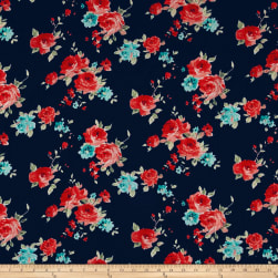 Bubble Crepe Roses Orange on Navy Fabric