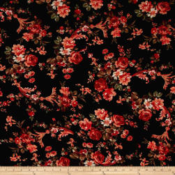 Bubble Crepe English Floral Orange on Black Fabric