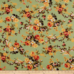 Bubble Crepe English Floral Yellow on Sage Fabric