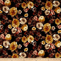 Double Brushed Poly Spandex Roses Gold on Black