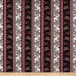 Liverpool Double Knit Bohemian Floral Pink/Black Fabric