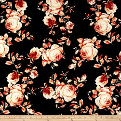Liverpool Double Knit Roses Rust on Black Fabric