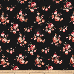 Techno Scuba Knit Floral Mauve/Brown on Black Fabric