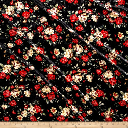 Stretch Crushed Velvet Roses Red on Black Fabric