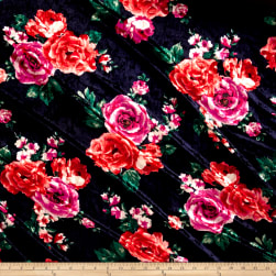 Stretch Crushed Velvet English Floral Pink/Coral Fabric