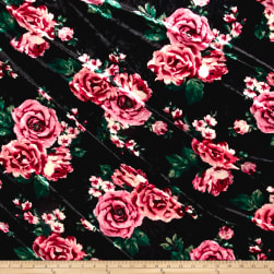Stretch Crushed Velvet English Floral Mauve on Black