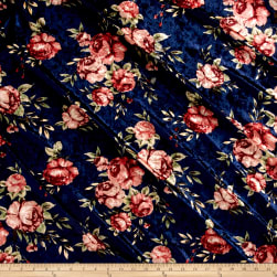 Stretch Crushed Velvet Roses Mauve on Navy Fabric