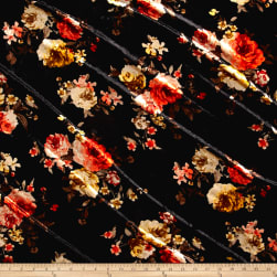 Stretch Crushed Velvet Roses Coral/Mustard on Black Fabric