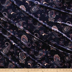 Stretch Crushed Velvet Paisley Pink/Blue Fabric