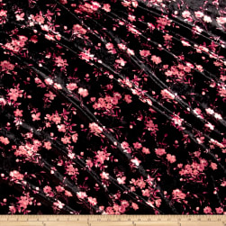 Stretch Crushed Velvet Floral Coral on Black Fabric