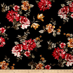 Stretch Crushed Velvet Floral Red/Mustard on Black Fabric