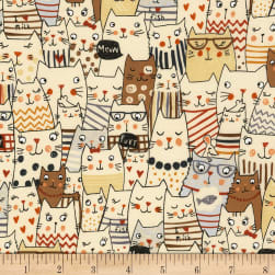 Timeless Treasures Meow Cats Natural Fabric