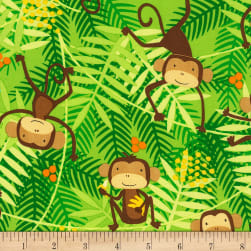 Timeless Treasures Go Bananas Monkeys Green Fabric
