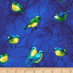 Timeless Treasures Deep Forest Birds Royal Fabric