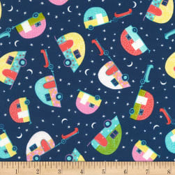 Timeless Treasures Happy Trails Tossed Campers Navy Fabric
