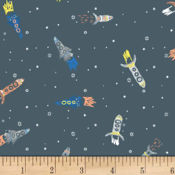 Dear Stella Flannel Gravity Rockets Gunmetal Fabric